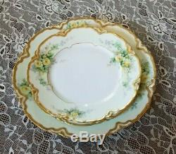 Antique Haviland Plates Limoges Hand Painted Yellow Roses 1891-1934 3 Plates