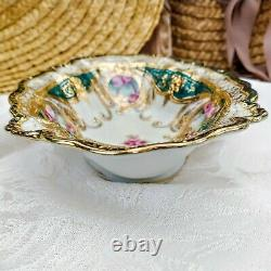 Antique Heavy Gold Relief Nippon Oval Bowl Hand Painted Purple Roses 7.75