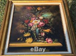 Antique ITALY 32 Anton Pierry SIGNED Peony Rose Floral Bouquet Oil Painting