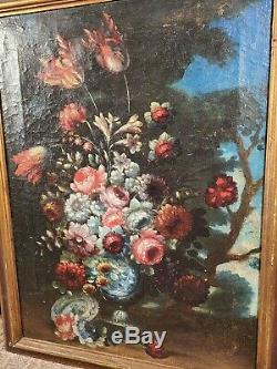 Antique Italian Old Master Flowers Urn Oil Painting Floral Still Life Tulip Rose