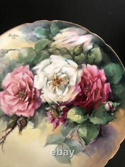 Antique JPL France Plate Hand Painted signed F. Woodman 1906 Cabbage Roses withGold
