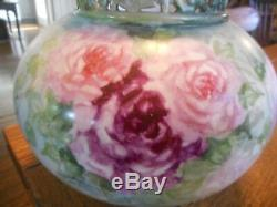 Antique JPL Jean Pouyat Limoges Hand Painted Vase-PINK RED YELLOW ROSES-France