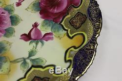 Antique Japanese Nippon Hand-Painted 12.25 Cobalt Blue Plate with Roses