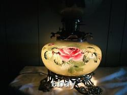 Antique Large Antique Hand Painted Signed Gone With The Wind Lamp Roses