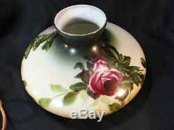 Antique Large SUCCESS Hand Painted Roses Glass Shade Converted Oil Lamp GWTW