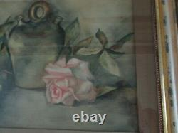 Antique Large Water Color Pink Roses Painting Original Frame & Wavy Bubble Glass