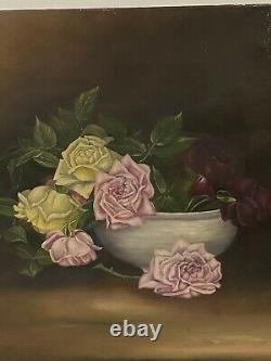 Antique Late 19th Century Still Life Painting of Roses Moody Oil On Canvas