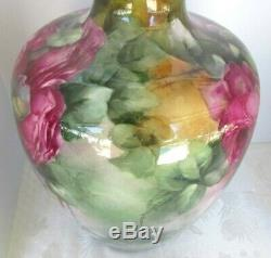 Antique Lenox Belleek Hand Painted Floral Vase Roses