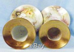 Antique Limoges Candlesticks Pink Yellow Hand Paint Roses Artist Sign Porcelain
