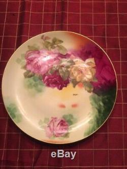 Antique Limoges Circa 1908-1914 Hand Painted Roses Plate Rancon Signed 9 1/4