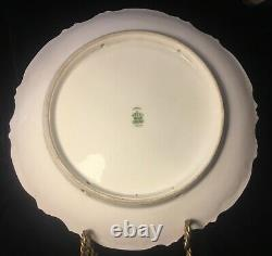 Antique Limoges Coronet France Hand painted Charger Roses Signed DUVAL 11.5