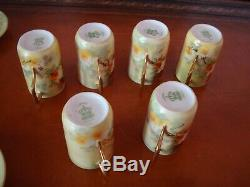 Antique Limoges Coronet Hand Painted Chocolate Set, 6 Cups & Pot, Yellow Roses
