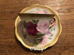 Antique Limoges Coronet Tea Cup & Saucer with Pink Hand-Painted Roses & Gold Trim