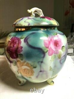 Antique Limoges Footed Cracker Biscuit Jar Hand Painted Roses & Purple Robbons