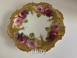 Antique Limoges France Hand Painted Rose Plate w Heavy Gold 1890