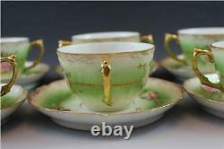 Antique Limoges France Porcelain 6 Boullion Cups & Saucers with Hand Painted Roses