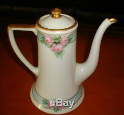 Antique Limoges Guerin, Coffee / Tea Pot, Hand Painted Pink Roses