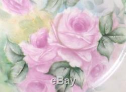 Antique Limoges Hand Painted Pink Roses Wall Plate Charger 10.5 So Beautiful