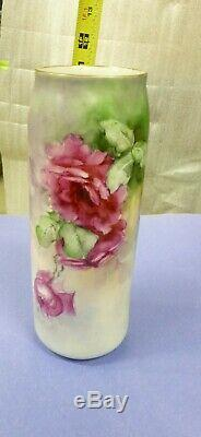 Antique MZ Austria Vase Hand Painted Roses Flowers 1884 1909 11 tall