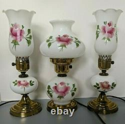 Antique Milk Glass Brass Hurricane Table Lamps Set of 3 Hand Painted Pink Roses