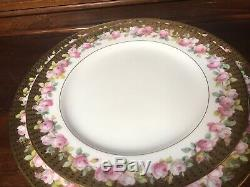 Antique Minton Cup Saucer Hand Painted Pink Roses Encrusted Gold Place Setting