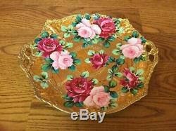 Antique Moriage Beaded 11 Hand Painted Plate Gold with Roses