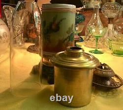 Antique Mt. Washington Glass Oil Lamp Painted Roses Theme Acid Etched Shade