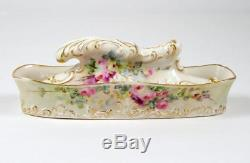 Antique Nail Buffer With Tray Hand Painted Pink Roses On Porcelain Lenox 1896 1906