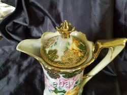 Antique Nippon Chocolate Pot Hand Painted Pink&yellow Roses Gold Encrusted Beade