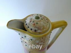 Antique Nippon Hand Painted Large Roses Jeweled Porcelain Chocolate Pot