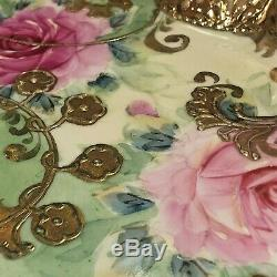 Antique Nippon Hand Painted Roses Gilt Gold Roses Chocolate Pot or Teapot & Tray