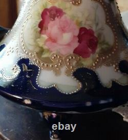 Antique Nippon Handled Vase Hand Painted Roses Cobalt & Beaded Gold Moriage