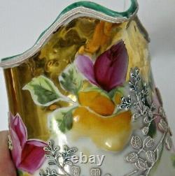 Antique Nippon Moriage Pitcher 7 Royal Moriye, Heavy Relief, Hand Painted Roses