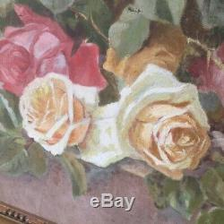 Antique OIL PAINTING Cream and Pink ROSES Signed Dated 1930 20x27 (with frame)