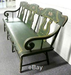 Antique Oak Hunt Green Hand Painted BENCH / SETTEE Roses & Gold Highlights. 6' W