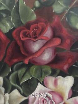 Antique Oil Canvas Roses O/C Painting 12x18 Still Life Gold Gesso Frame Ornate