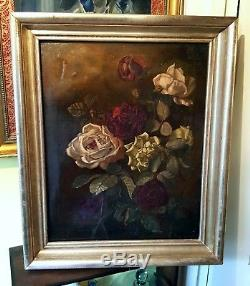Antique Oil Painting On Canvas Large Still Life Roses Framed