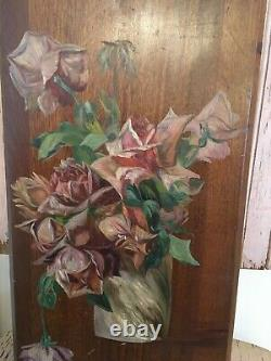 Antique Oil Painting Pink Roses On Board 1900-1940 Cottage Style #13