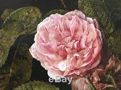 Antique Oil Painting Still Life Floral Roses Signed Ca. 1800 French/dutch Panel