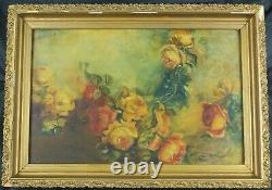 Antique Oil Painting Still Life withRoses by Listed French Artist Georges Jeannin