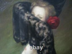 Antique Oil Painting Vintage Nude Pretty Woman Female Model Roses Signed Old