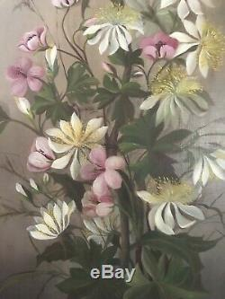 Antique Oil Painting Wild Flowers Not Roses Beautiful Canvas Signed