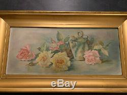 Antique Oil on Board Roses Still Life Framed Painting Un Signed 1920's 30 x 16
