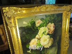 Antique Oil on canvas paintining Still Life Roses over the stone wall 45x36