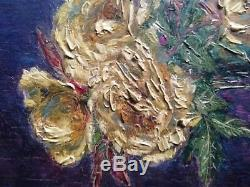 Antique Oil painting Bouquet of Roses Charles Frederic JUNG (1865-1936)