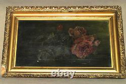 Antique Old Master STILL LIFE Roses Oil on Canvas Painting Ornate Frame UNSIGNED