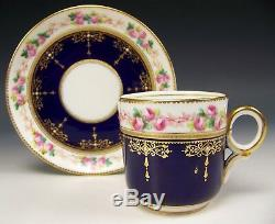 Antique Old Paris Hand Painted Roses Raised Jeweled Tea Cup & Saucer Sevres