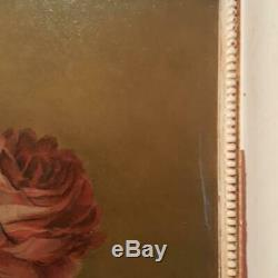 Antique Old World Roses Framed PaintingShades of Burgundy and Deep Olive Green