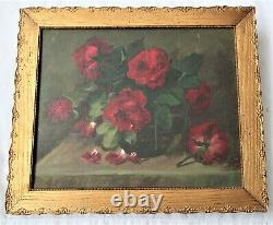 Antique Original Oil Painting Floral Roses Victorian Country Gold Frame Folk Art
