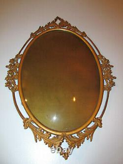 Antique Oval Metal Picture Frame Cast Rose Detail Dome Convex Bubble Glass